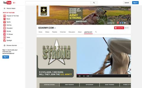 Screenshot of YouTube Page youtube.com - GOARMY.COM  - YouTube - captured Oct. 23, 2014