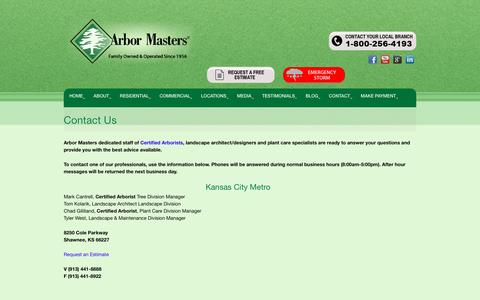 Screenshot of Contact Page arbormasters.com - Contact Us - Arbor Masters Tree, Lawn Care and Landscaping - captured Sept. 8, 2016