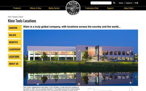 Screenshot of Locations Page kleintools.com - Klein Tools Locations | Klein Tools - For Professionals since 1857 - captured Dec. 2, 2018