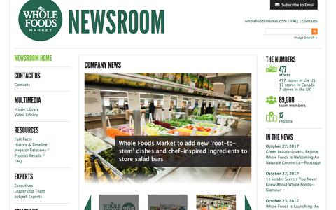 Screenshot of Press Page wholefoodsmarket.com - Home - Whole Foods Market Newsroom - captured March 7, 2018
