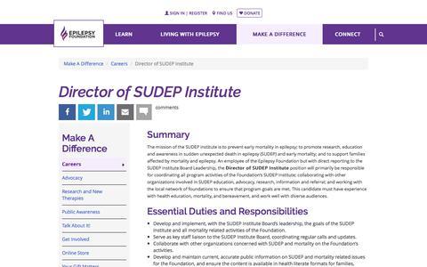 Director of SUDEP Institute | Epilepsy Foundation