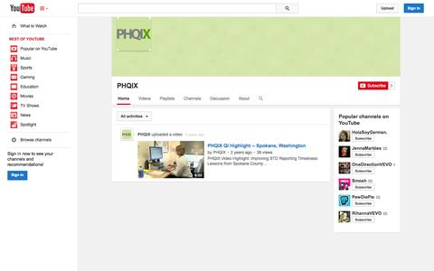 Screenshot of YouTube Page youtube.com - PHQIX  - YouTube - captured Oct. 22, 2014