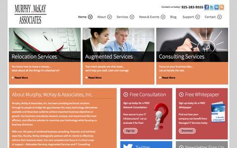 Screenshot of Home Page murphymckay.com - Managed IT Support - Computer Repair - Lafayette, California   Murphy, McKay Associates - captured Oct. 7, 2014