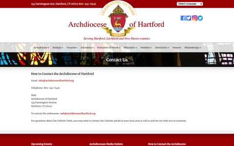 Screenshot of Contact Page archdioceseofhartford.org - The Archdiocese of Hartford  Contact Us - The Archdiocese of Hartford - captured Nov. 6, 2018
