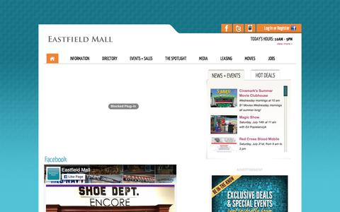 Screenshot of Home Page eastfieldmall.com - Eastfield Mall :: 1655 Boston Road, Springfield, MA. 01129 :: (413) 543-8000 - captured July 15, 2018