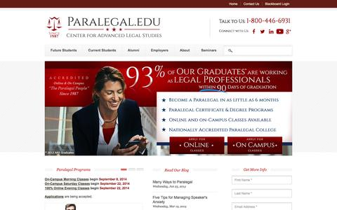 Screenshot of Home Page Privacy Page Site Map Page paralegal.edu - Paralegal Education | Center for Advanced Legal Studies - captured Sept. 19, 2014
