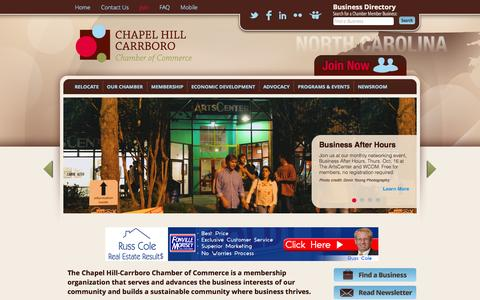 Screenshot of Home Page carolinachamber.org - Home - Chapel Hill-Carrboro Chamber of Commerce - captured Oct. 2, 2014
