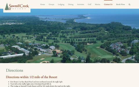 Screenshot of Maps & Directions Page sawmillcreekresort.com - Directions | Sawmill Creek Resort | Lake Erie Sandusky Ohio - captured July 23, 2016