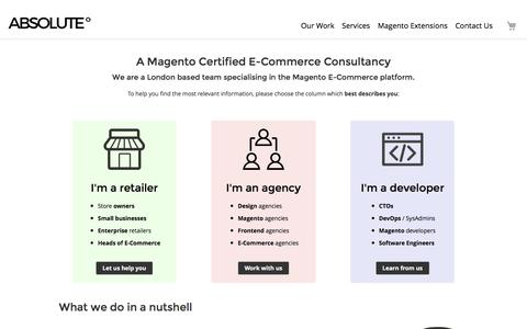 Screenshot of Services Page absolutecommerce.co.uk - Magento Services  // Absolute Commerce - captured July 7, 2018