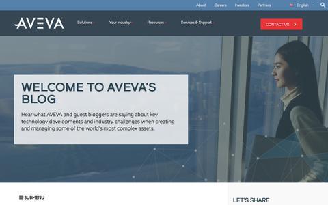 Screenshot of Blog aveva.com - AVEVA Blog: Latest developments in technology for engineering industries - captured Dec. 14, 2017