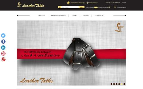 Screenshot of Home Page leathertalks.com - Buy Best Quality Handmade Leather Bags, Handbags Online - captured Sept. 4, 2015