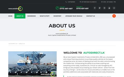 Screenshot of About Page autodirect.lk - About us   autodirect.lk - The leading automobile company in Sri Lanka - captured Sept. 24, 2018