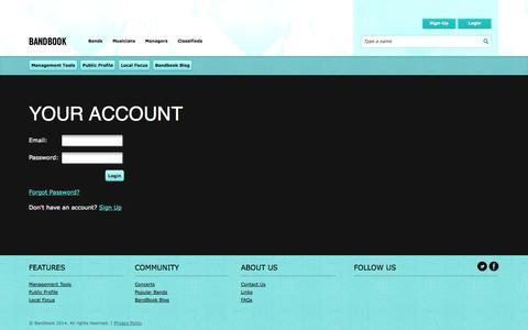 Screenshot of Login Page bandbook.com - Bandbook Login - captured Oct. 5, 2014