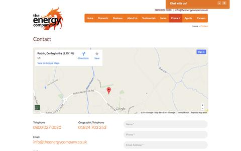 Screenshot of Contact Page theenergycompany.co.uk - Contact - The Energy Company (UK) Ltd - captured Oct. 26, 2014
