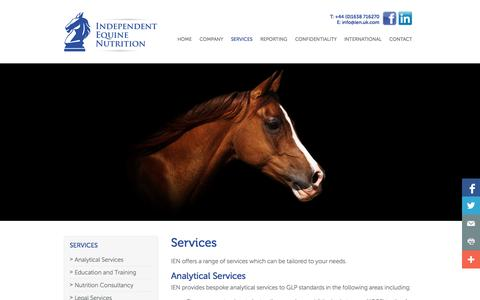 Screenshot of Services Page ien.uk.com - Independent Equine Nutrition | Services | Independent Equine Nutrition - captured Oct. 6, 2014