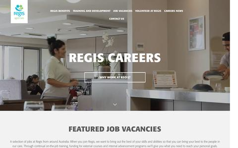 Screenshot of Jobs Page regis.com.au - Regis Aged Care Jobs | Careers in Aged Care - captured March 19, 2017