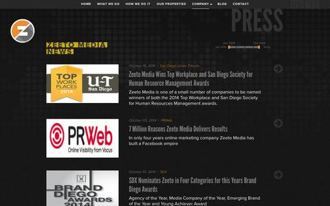 Screenshot of Press Page zeetomedia.com - Zeeto Media - captured Nov. 1, 2014