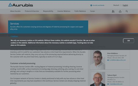 Screenshot of Services Page aurubis.com - Services - captured May 17, 2019