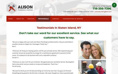 Screenshot of Testimonials Page alisonplumbing.com - HVAC Contractors - Staten Island, NY - Alison Plumbing & Heating - captured Oct. 31, 2018