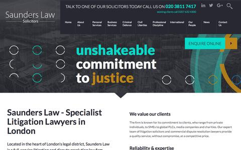 Screenshot of Home Page saunders.co.uk - Saunders Law - Litigation Lawyers in London - captured Oct. 5, 2017