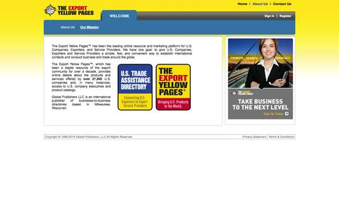 Screenshot of About Page exportyellowpages.com - The Export Yellow Pages - captured Sept. 19, 2014