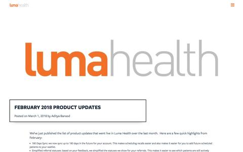 Screenshot of Blog lumahealth.io - February 2018 Product Updates - Luma Health - captured Jan. 2, 2020