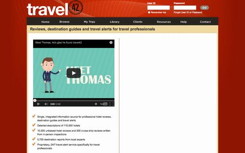 Screenshot of Trial Page travel-42.com - travel42 Subscription Free Trial - Hotel reviews, destination guides and travel alerts for travel professionals - captured Nov. 5, 2014