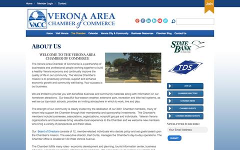 Screenshot of About Page veronawi.com - Verona Area Chamber of Commerce - captured Feb. 14, 2016