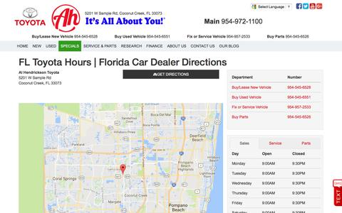 Screenshot of Hours Page alhendricksontoyota.com - FL Toyota Hours | Car Dealer Directions Near Fort Lauderdale Florida - captured Nov. 20, 2016