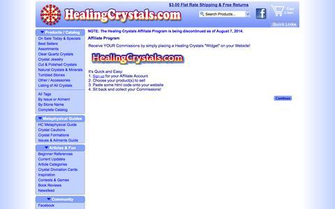 Screenshot of Signup Page healingcrystals.com - Healing Crystals Discount Tumbled Stones Rocks & Minerals - captured Sept. 19, 2014