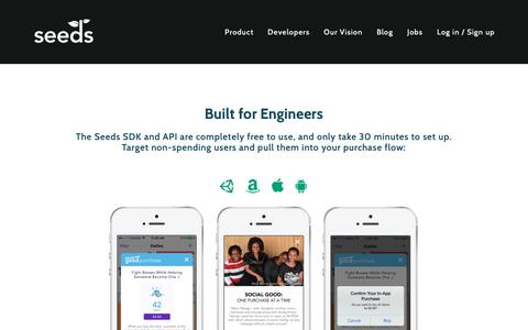 Screenshot of Developers Page playseeds.com - Built for Engineers — Seeds - captured Oct. 18, 2018