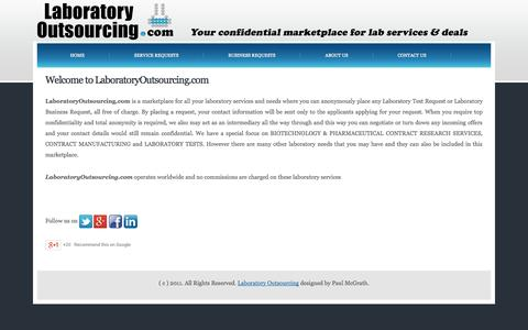 Screenshot of About Page laboratoryoutsourcing.com - LABORATORY OUTSOURCING - captured Oct. 1, 2014