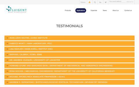 Screenshot of Testimonials Page fluigent.com - Scientists testimonials about Fluigent products | Fluigent - captured Aug. 18, 2018