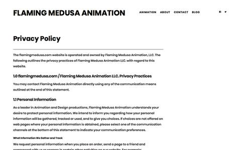 Screenshot of Privacy Page flamingmedusa.com - Privacy Policy   Flaming Medusa Animation - captured Oct. 14, 2017