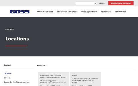 Screenshot of Locations Page gossinternational.com - View All Goss Locations | Find a Goss Location| Goss - captured May 22, 2017
