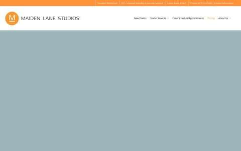 Screenshot of Pricing Page maidenlanestudios.com - San Franciso Pricing for Pilates, Barre, Yoga, and FST - captured Dec. 21, 2015