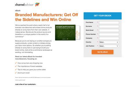Screenshot of Landing Page channeladvisor.com - Branded Manufacturers: Get Off the Sidelines and Win Online - captured June 16, 2016