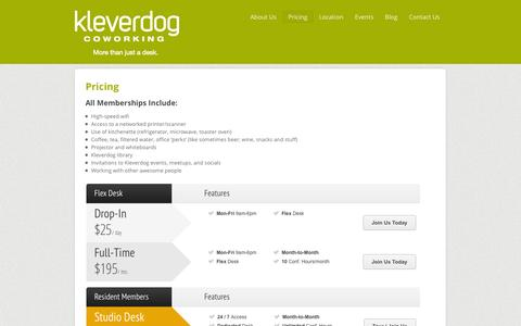 Screenshot of Pricing Page kleverdogcoworking.com - Pricing and Membership Options at Kleverdog Coworking - captured Oct. 6, 2014