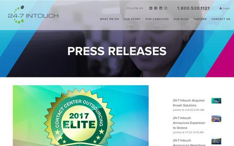 Screenshot of Blog 24-7intouch.com - 24-7 Intouch Wins 2017 Elite Contact Center Outsourcing Award - captured Feb. 20, 2020