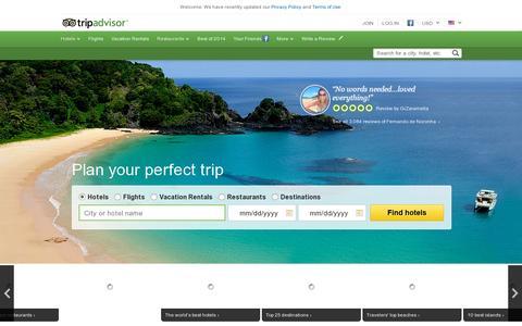 Screenshot of Home Page tripadvisor.com - Reviews of Hotels, Flights and Vacation Rentals - TripAdvisor - captured July 12, 2014