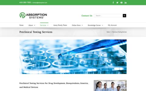 Screenshot of Services Page absorption.com - Preclinical Testing Services For Drugs & Medical Devices - captured Nov. 20, 2016
