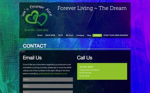 Screenshot of Contact Page foreverliving-thedream.co.uk - Contact - Forever Living ~ The DreamForever Living ~ The Dream - captured Feb. 4, 2016