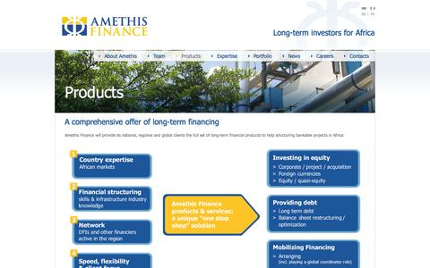Screenshot of Products Page amethisfinance.com - Products   Amethis Finance - captured Sept. 23, 2014