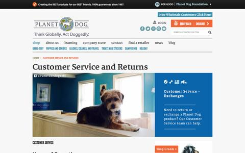 Screenshot of Support Page planetdog.com - Contact Customer Service and Returns - captured Jan. 28, 2016