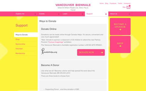 Screenshot of Support Page vancouverbiennale.com - Ways to Donate   Vancouver Biennale - captured Sept. 20, 2018