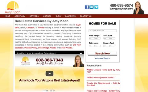 Screenshot of Services Page amykoch.com - Services - Realtor North Phoenix : Amy Koch - captured July 25, 2016