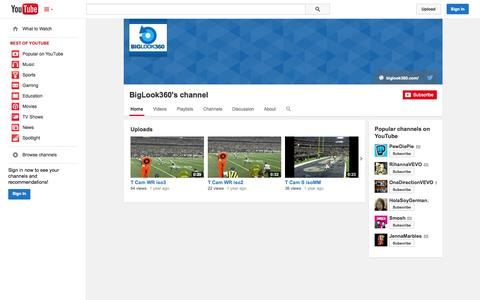 Screenshot of YouTube Page youtube.com - BigLook360's channel  - YouTube - captured Oct. 29, 2014