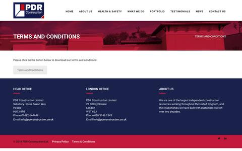 Screenshot of Terms Page pdrconstruction.co.uk - Terms and Conditions - PDR Construction - captured Sept. 25, 2018