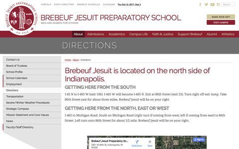 Screenshot of Maps & Directions Page brebeuf.org - Directions   Brebeuf Jesuit Preparatory School - captured Oct. 11, 2017