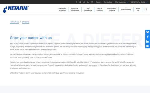Screenshot of Jobs Page netafim.com - Careers - captured Sept. 21, 2018